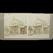 =UNIQUE= 1900 antique stereoview, Gulquac, New Brunswick, Canada, Trapper's Store