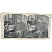 1900 Antique stereoview, Mr. Sears at his s-scroll roll-top desk