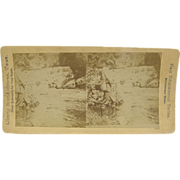 -SCARCE- 1900 antique stereoview, Fly Fishing, pipe smoking, Liberty Brand series