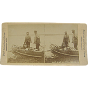 -SCARCE- 1900 antique stereoview, duck hunting marshlands