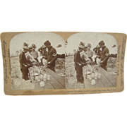 1898 Span-Am War, TOP Sgt, chow line, Camp Tampa, Florida - Antique stereoview