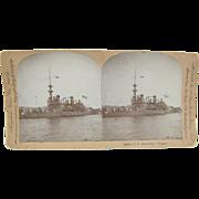 1898 Span-Am War, Battleship OREGON - Antique stereoview