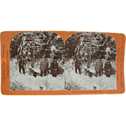 1899 Deer hunting, North Woods, antique stereoview by Lingley