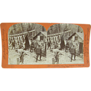 1903 Deer bear hunting, camp scene, antique stereoview by Lingley