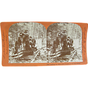 1895 MOOSE deer hunting, sled - antique stereoview by Lingley