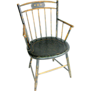 =Original Paint= Windsor armchair ca.1800 bamboo turnings, birdcage rod back
