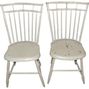 =Original Paint= PAIR ca.1800 Windsor side chairs, white, birdcage, bamboo turnings