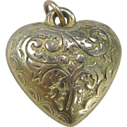 HEART 1930's chased foliate sterling hollowware charm