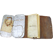 ca.1940's fly fishing leather wallet with aluminum box, and contents