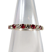 SALE Eternity wedding band with natural rubies and diamonds, Stamped 18K solid gold stacking .