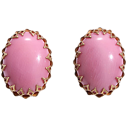 SALE Rare Color, Miriam Haskell Large Raspberry Pink Earrings