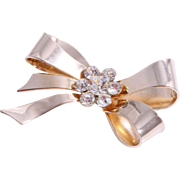 SALE Elegant Coro Bow Pin/Brooch with Sparkling Rhinestone Center, 1950s