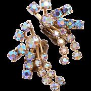 SALE Signed Austria Large Sparkling Aurora Borealis Rhinestone Clip Earrings