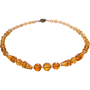 SALE Genuine Art Deco Czech Signed Amber Faceted Crystal Glass Necklace