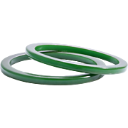 SALE Go Green With A Pair of Mid-Century Bakelite Bangles!