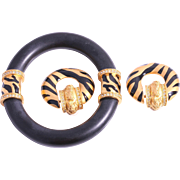 "SALE Elizabeth Taylor for Avon ""Zebra Stripe Collection"", Bangle & Earrings"