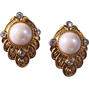 SALE Kenneth Jay Lane for Avon Renaissance Revival Faux Pearl Earrings, Pierced