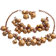 SALE Gorgeous D&E Juliana Book Piece  Parure with Venetian Beads and Rhinestones