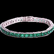 SALE Art Deco Sterling Silver Channel Set Emerald Green Diamonbar Line Bracelet, 1920s