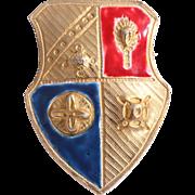 Rare Sandor Company Enamel Blue and Red Heraldic Shield Pin