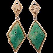 SALE Vendome Carved Floral Faux Jade Dangle Earrings