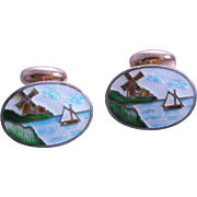 SALE RARE Victorian Porcelain Hand-Painted Dutch Windmill & Sailboat Pictorial Cufflinks