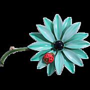 Original by Robert Enamel Blue Green Lady Bug Flower Pin