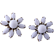SALE Miriam Haskell White Glass Floral Summer Earrings