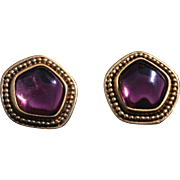 SALE Vintage Yves Saint Laurent Pierced Amethyst Glass Gold-Plated Earrings