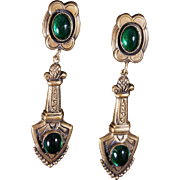 Joseff of Hollywood Neoclassical Dangle Earrings with Emerald Green Cabochons