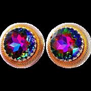 SALE Schiaparelli Watermelon Rhinestone Gold Tone Clip Earrings