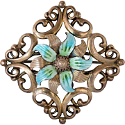 Highly Collectable Symmetalic Sterling + 14K Gold Floral Enamel Pin.