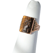 SALE Victorian Rose Gold 10K Tiger's Eye Intaglio Figural Ring of a Soldier