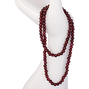 """14K Gold Garnet Bead Necklace with 14K Gold Clasp 17.5"""""""