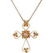 "18K Rose Gold Victorian Cross with 16"" 18K Rose Gold Chain"