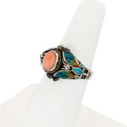 Sterling Silver Coral with Filigree, Enamel, Ring Size 7