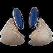Modernist Sterling Silver & Lapis Lazuli Earrings