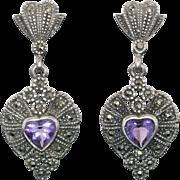 Sterling Silver Dangling Marcasite & Amethyst Earrings