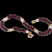 "14K Gold, 7-3/8"" Garnet Bead & Pearl Bracelet"