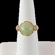 14K Jadeite Jade Orb Ring Size 6-3/4