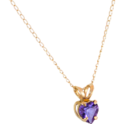 Petite 10K Gold Amethyst Pendant with Fine Chain