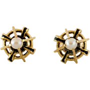 Black Enamel 14K Gold Victorian Seed Pearl Earrings