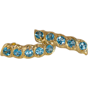 REDUCED 14K Yellow Gold Swiss Blue Topaz Earrings