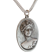 Lovely Pewter Cameo Pendant in Relief
