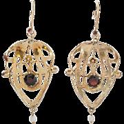Fabulous Gilt Garnet & Pearl Drop Earrings