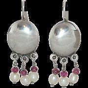 Sterling Silver Earrings with Pearl & Garnet Dangles