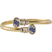 REDUCED 14K Yellow Gold Diamond & Sapphire Bangle Style Bracelet