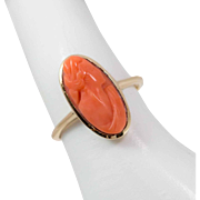 REDUCED 10K Gold   Victorian   Coral Cameo Ring   Size 6