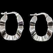 Sterling Silver | 1-1/4 Inch | Ruffled Oval Hoop Earrings