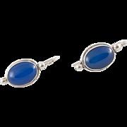 Chalcedony Earrings | Sterling Silver | Elongated Shepherd Hooks